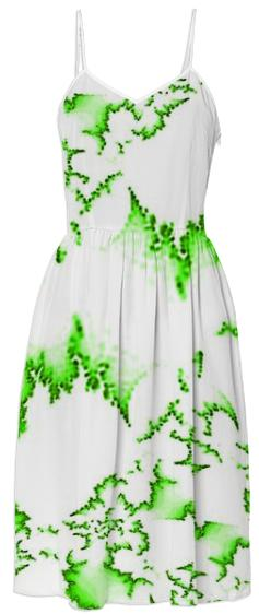 Green Fractal Summer Dress