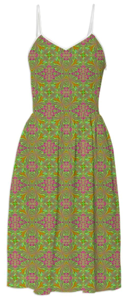 Green Pink Pattern Summer Dress