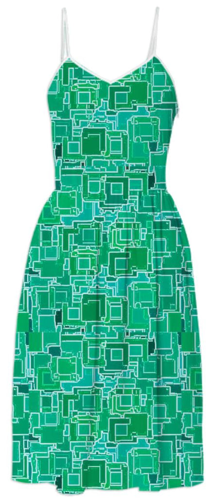 Green Pixelized Summer Dress