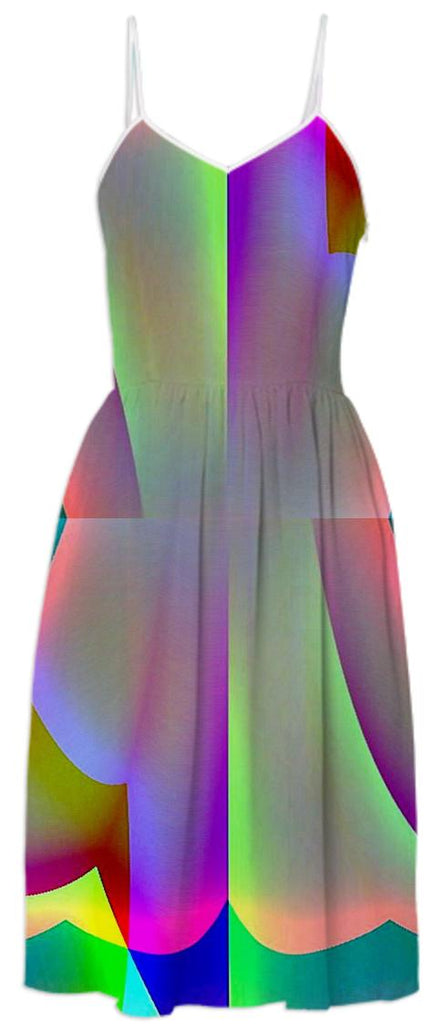 Green Purple Rainbow Summer Dress