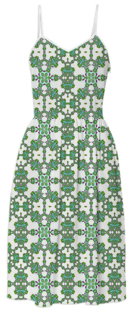 Green White Fractal Lace Summer Dress