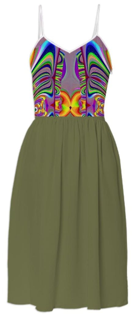 Green with Abstract Pattern Top Summer Dress