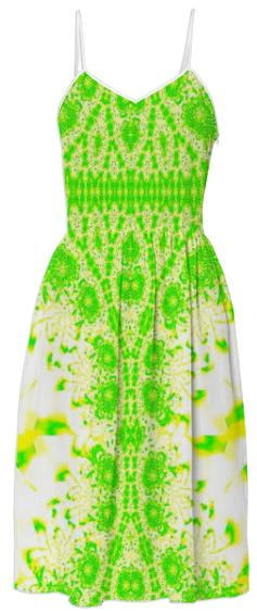 Green Yellow Lace Summer Dress