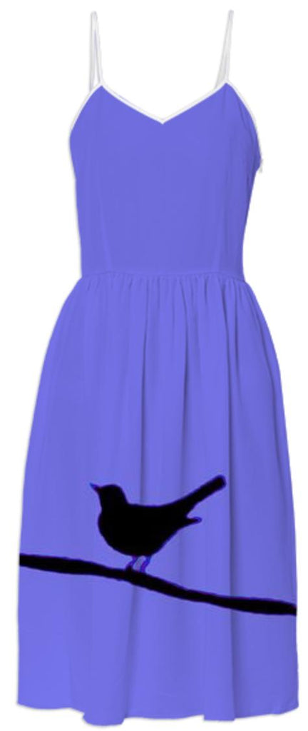 Lavender Blue Bird on a Wire Summer Dress