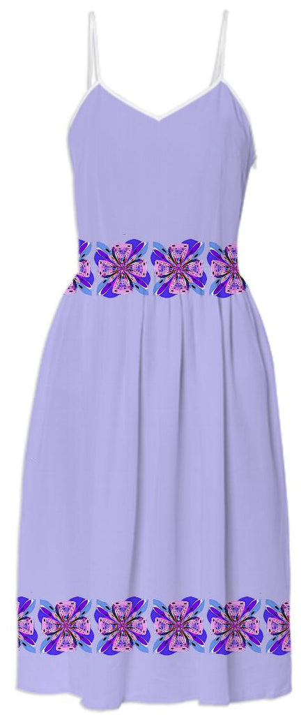 Lavender Summer Dress with Pink Bows