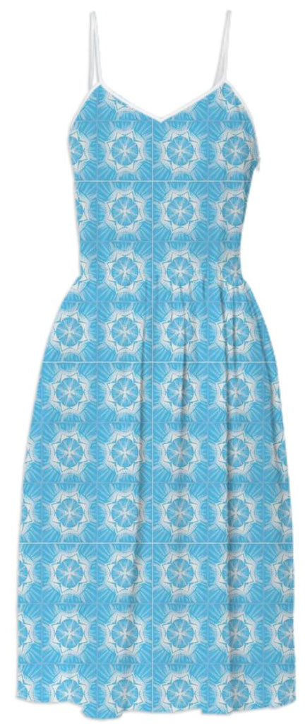 Light Blue White Summer Dress