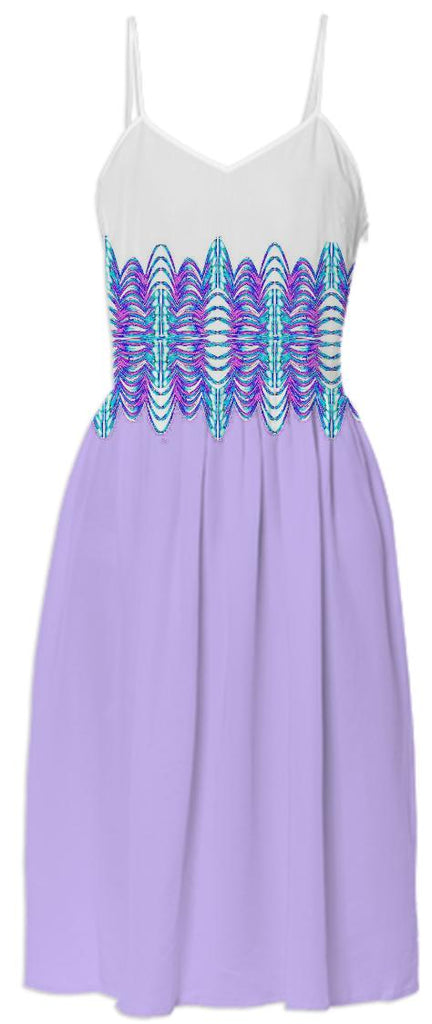 Lilac White Belted Summer Dress