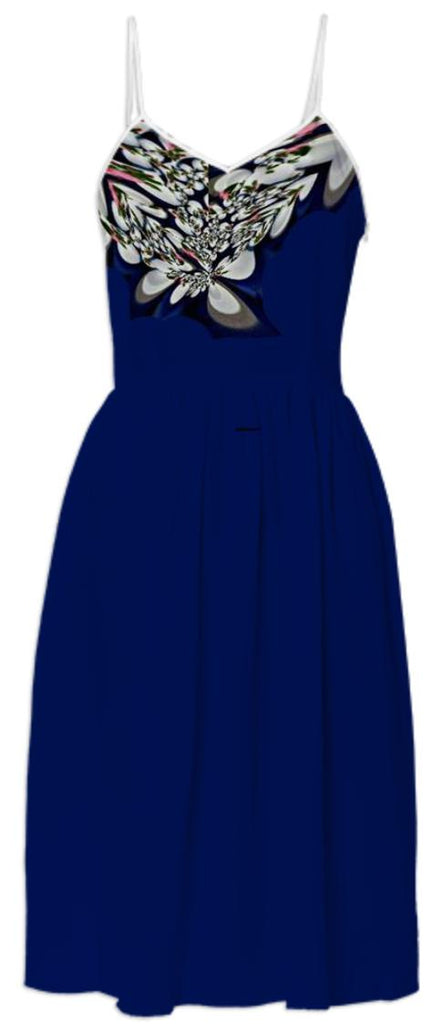 Navy Blue with White Design around neck Summer Dress