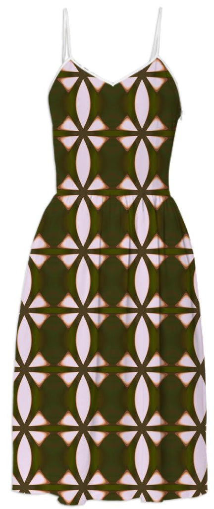 Olive Green and White Patterned Dress