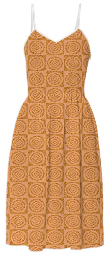 Orange Circles Pattern Summer Dress