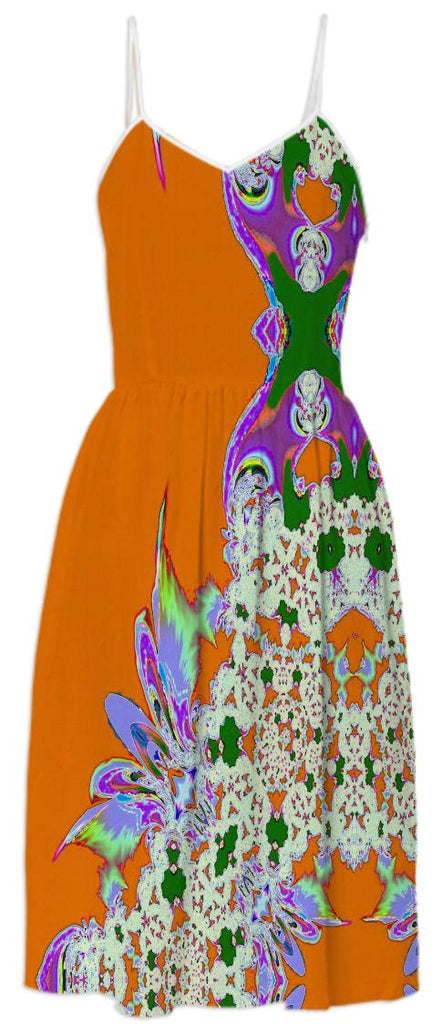 Orange Feathers n Lace Summer Dress