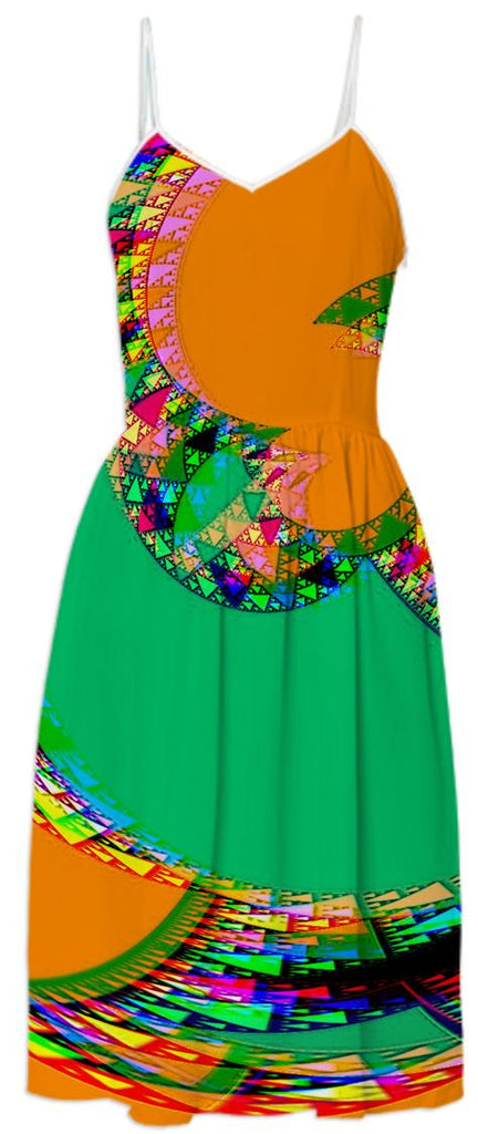 Orange Green Abstract Summer Dress