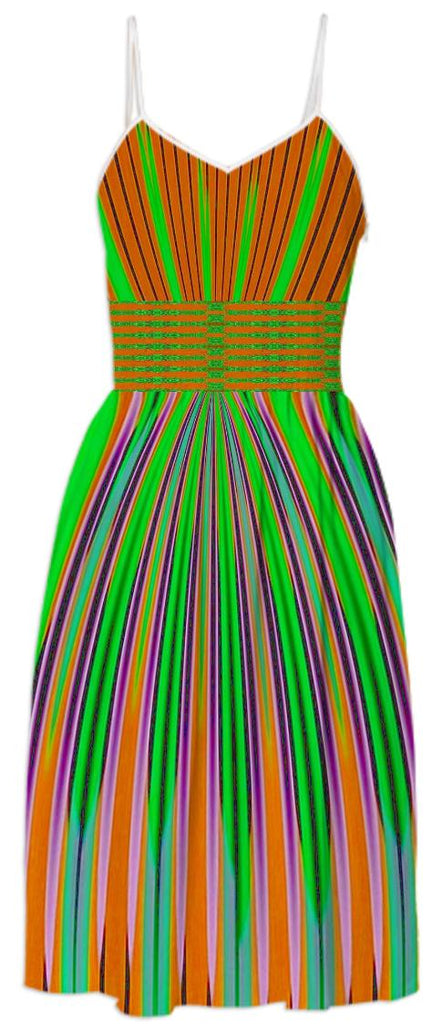 Orange Green Stripe Summer Dress