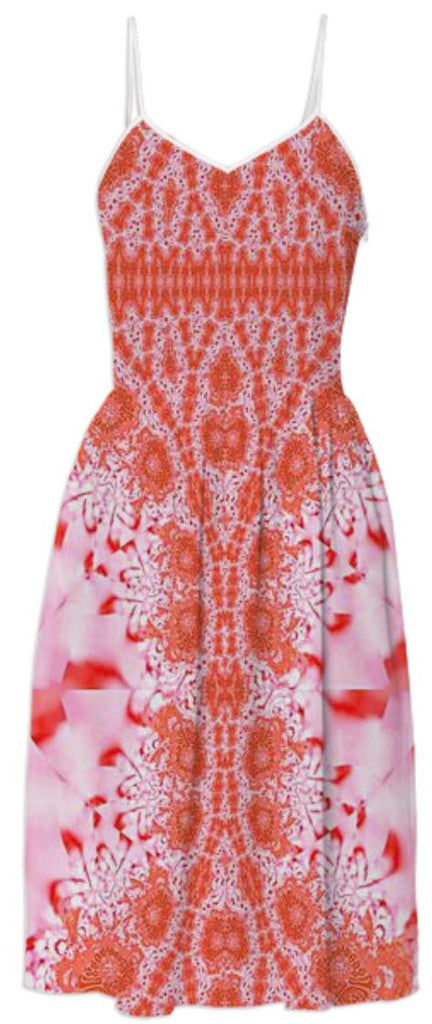 Orange Peach Lace Summer Dress