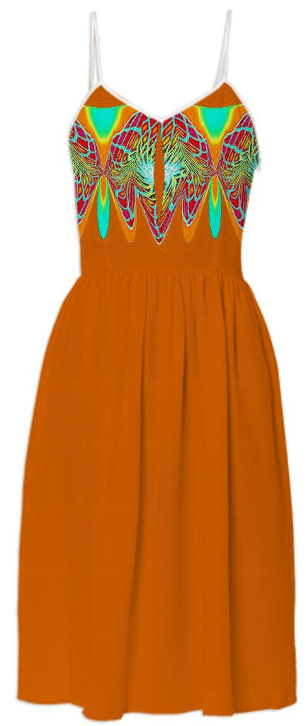 Orange with Aqua Wrap Summer Dress
