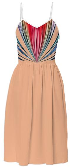 Peach with Colorful Stripes Summer Dress