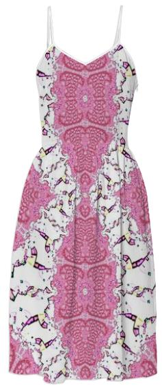 Pink and White Fractal Summer Dress
