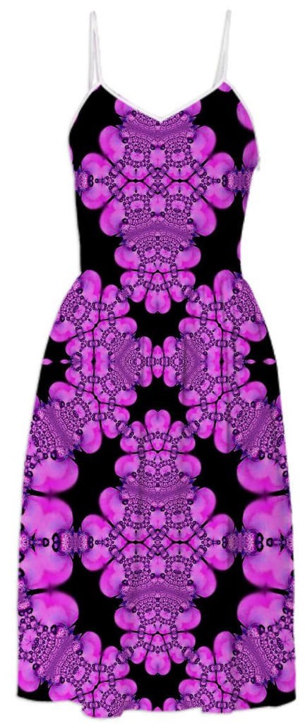 Pink Black Abstract Summer Dress