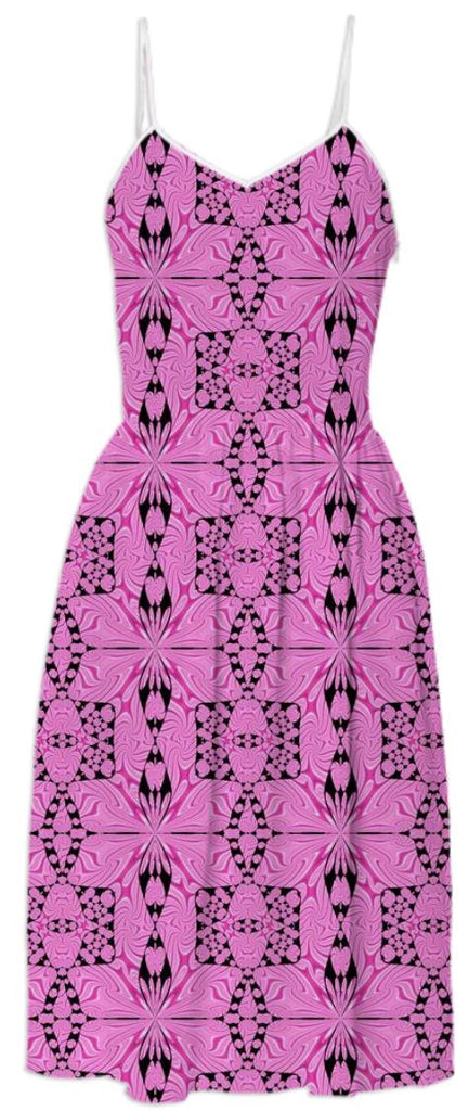 Pink Black Pattern Summer Dress