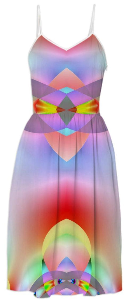 Pink Blue Abstract Belted Summer Dress