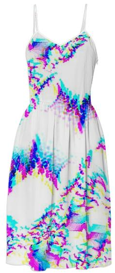 Pink Blue Aqua Fractal Summer Dress