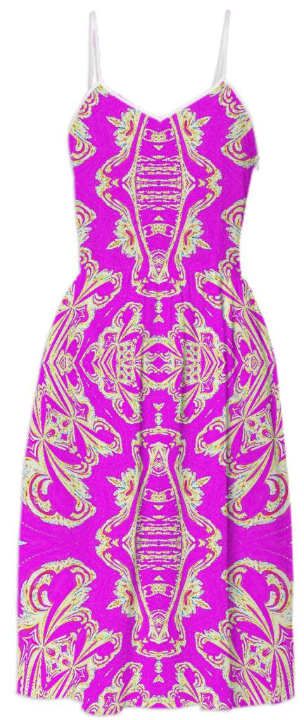 Pink Gold Pattern Summer Dress