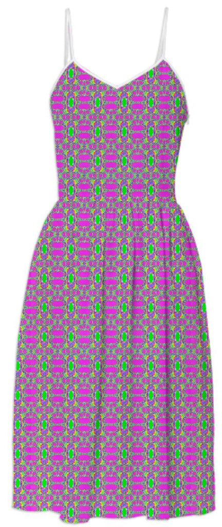 Pink Green Pattern Summer Dress