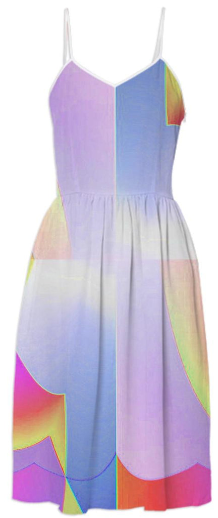 Pink Grey Rainbow Abstract Summer Dress