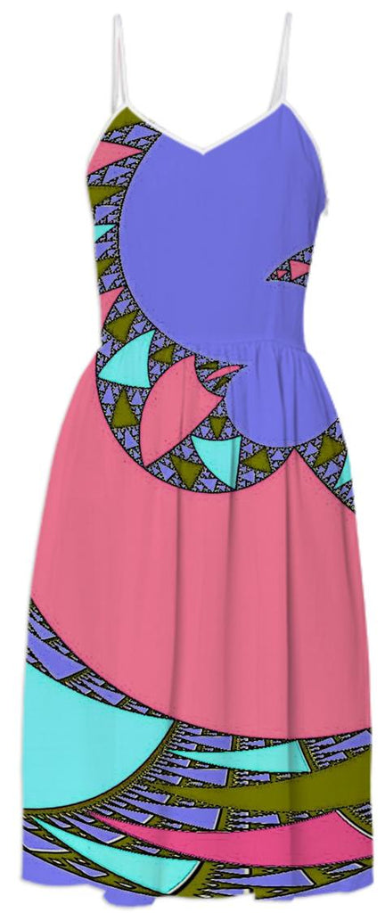 Pink Purple Abstract Summer Dress