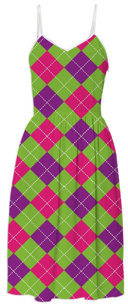 Pink Purple Green Large Argyle Pattern Summer Dress