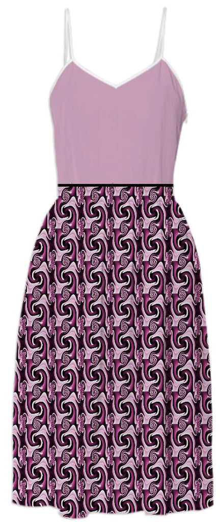 Pink Top with Pattern Skirt Summer Dress