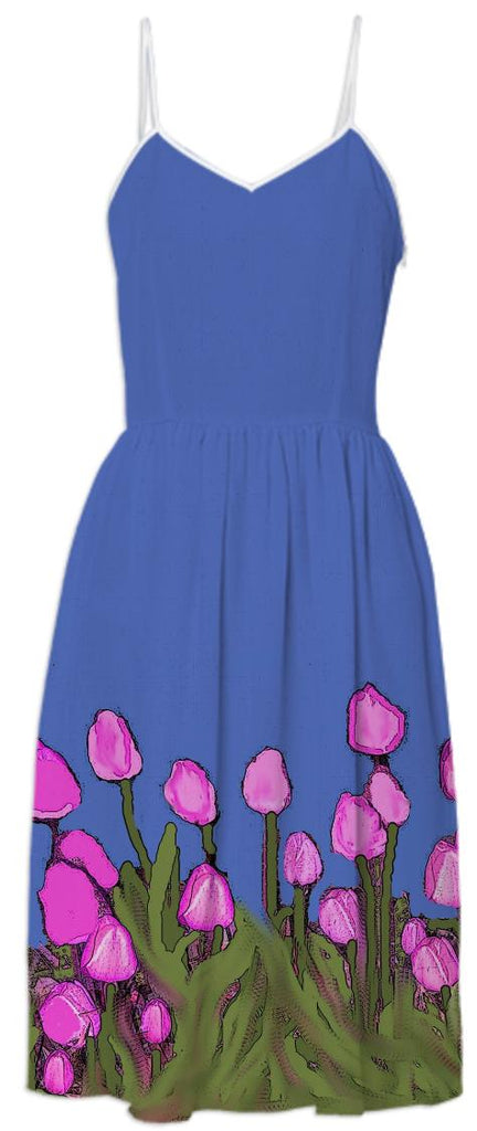Pink Tulips on Blue Summer Dress