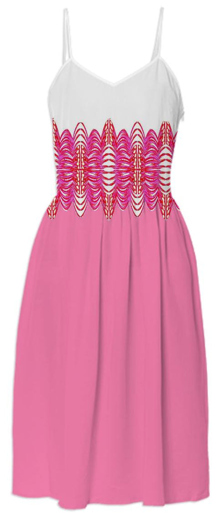 Pink White Belted Summer Dress