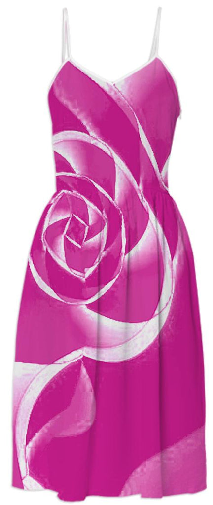 Pink White Rose Summer Dress