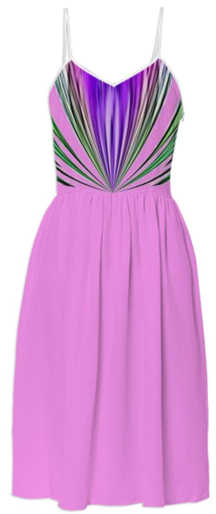 Pink with Purple and Green Stripes Summer Dress
