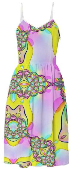Pink Yellow Abstract Summer Dress