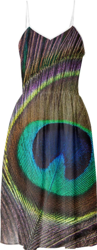Pretty as a peacock peacock eye feather print photo summer sun dress