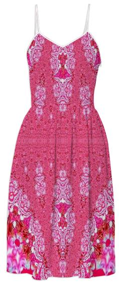 Pretty Pink Lacy Pattern Summer Dress