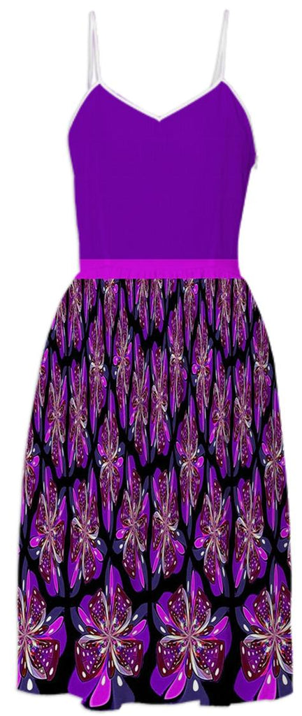 Purple Black Bows Summer Dress