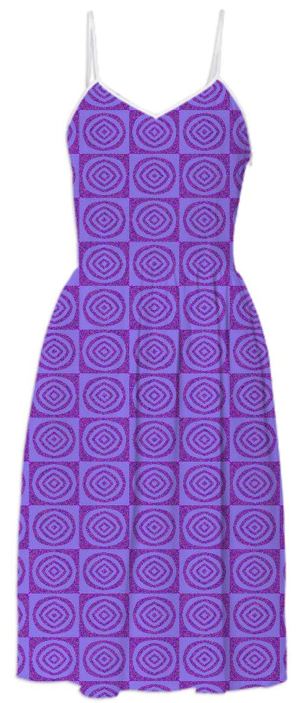 Purple Circles Pattern Summer Dress