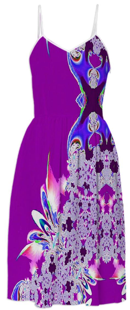 Purple Feathers n Lace Summer Dress