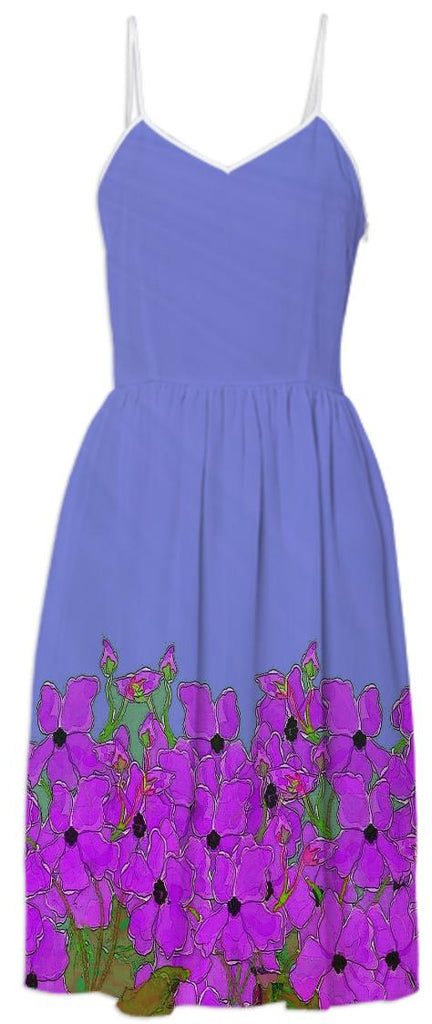 Purple Flowers Digital Painting Summer Dress