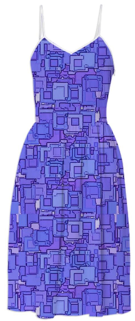 Purple Pixelized Summer Dress