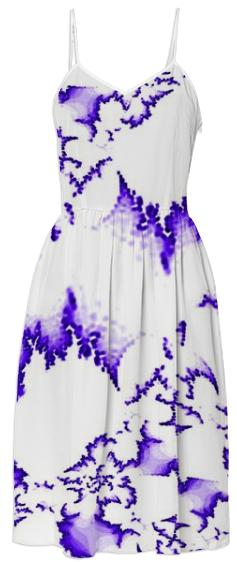 Purple White Fractal Summer Dress