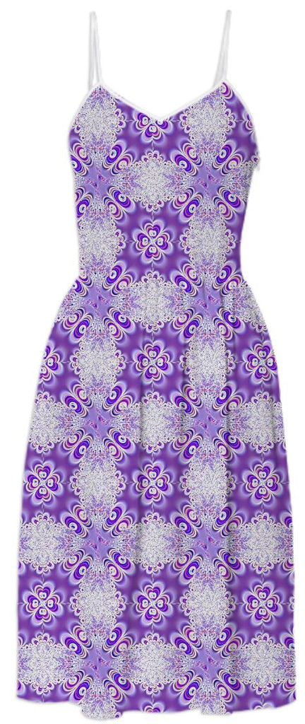Purple White Lace Summer Dress