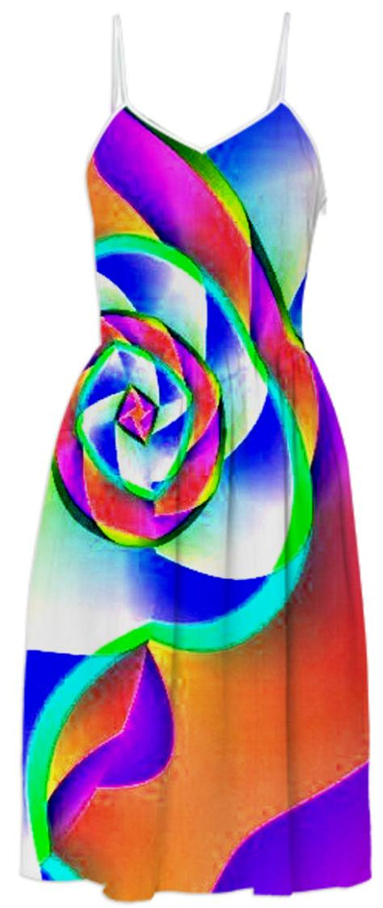 Rainbow Rose Summer Dress