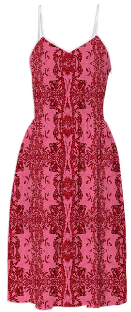 Red Abstract Pattern Summer Dress
