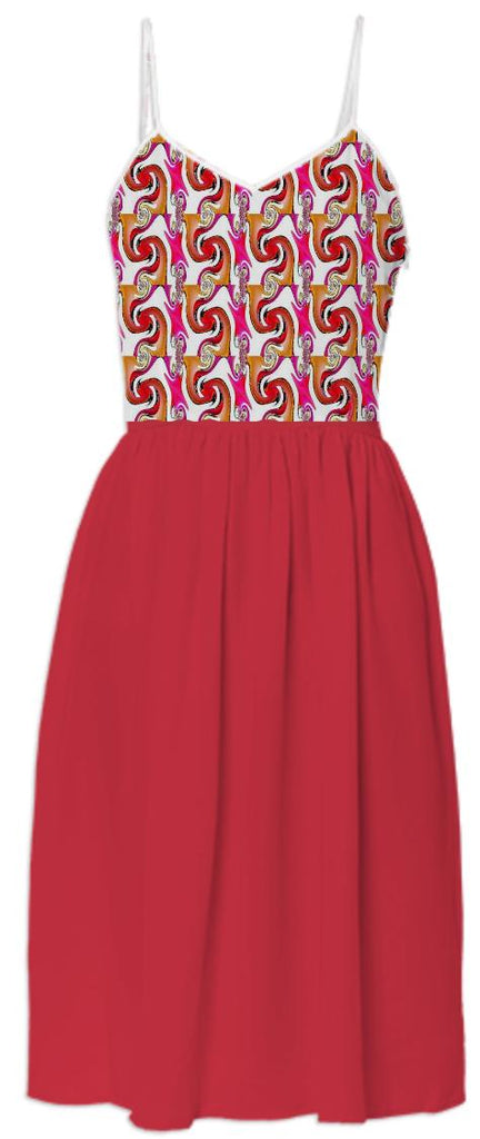 Red Abstract Summer Dress