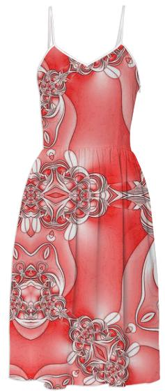 Red and White Abstract Summer Dress