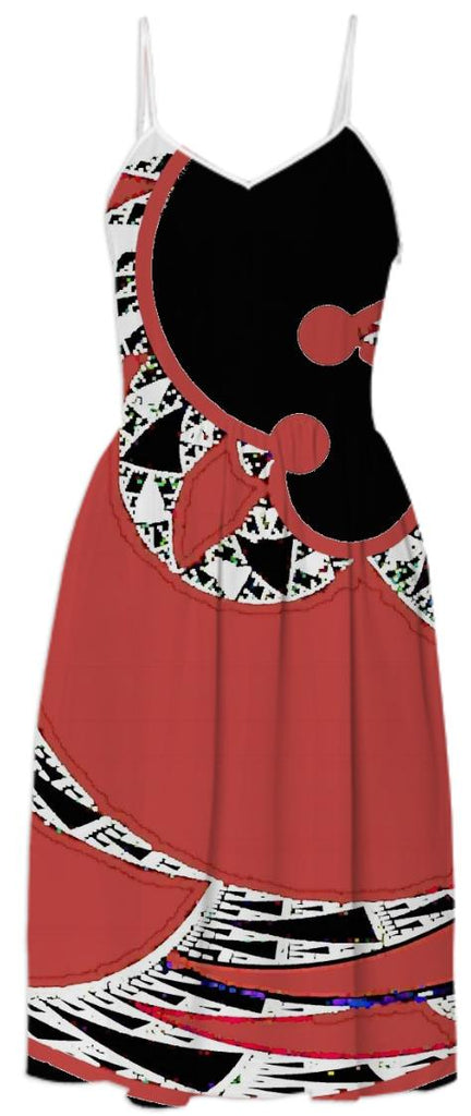 Red Black Abstract Summer Dress